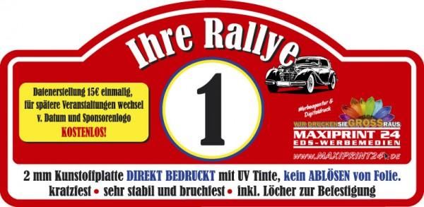 Rallyeschilder auf Kunststoffplatte
