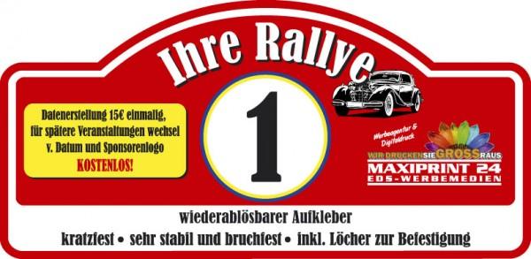 Rallyeschilder als Aufkleber, ablösbar