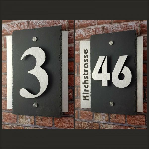 *3D Hausnummer Schiefer Edelstahl Design Hausnummernschild Zahlen Schieferplatte-